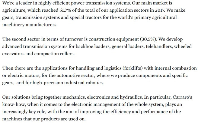 Our application markets. Firstly, we have first rate robotics. Secondly, we use renewable energy. Last but not least, after sales and spare parts.